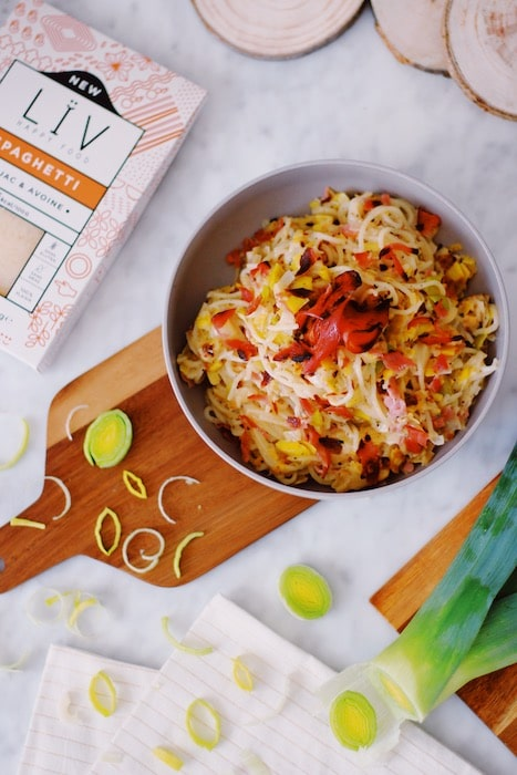 recetet de Spaghetti à la crème de poireaux