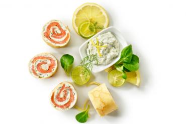 Roulé de crêpe saumon et gingembre