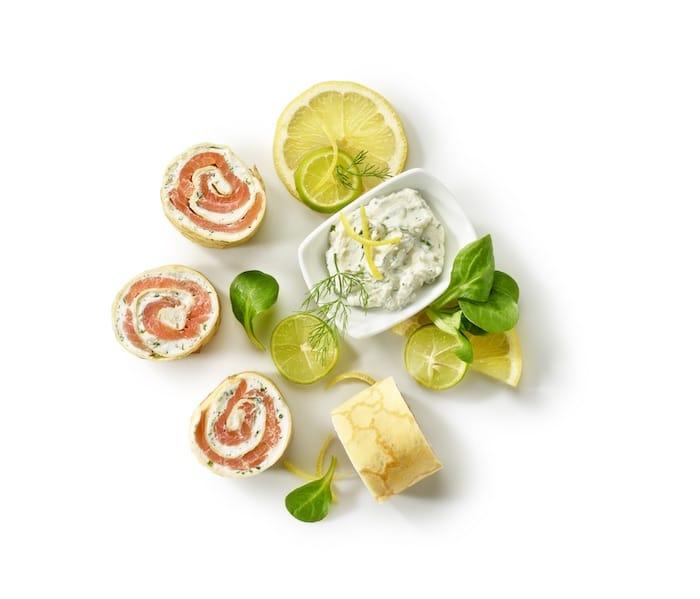 recette de Roulé de crêpe saumon et gingembre