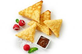 Samoussas de crêpe aux framboises et chocolat