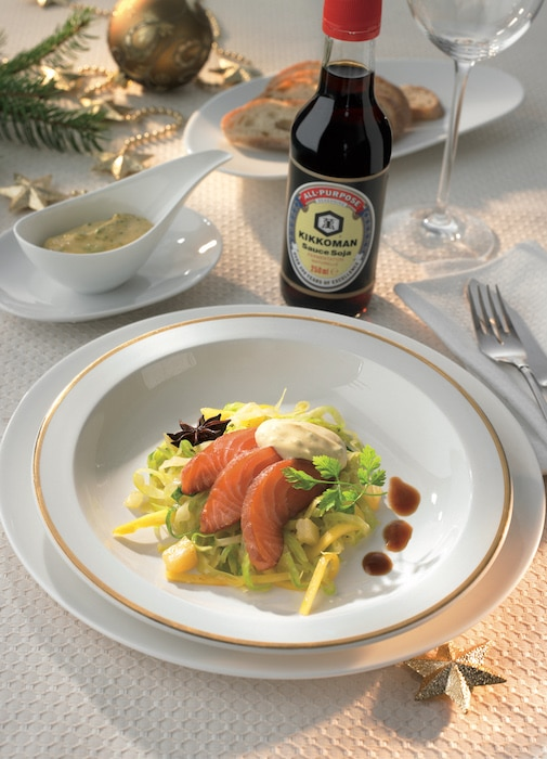 recette de Saumon mariné et salade de chou