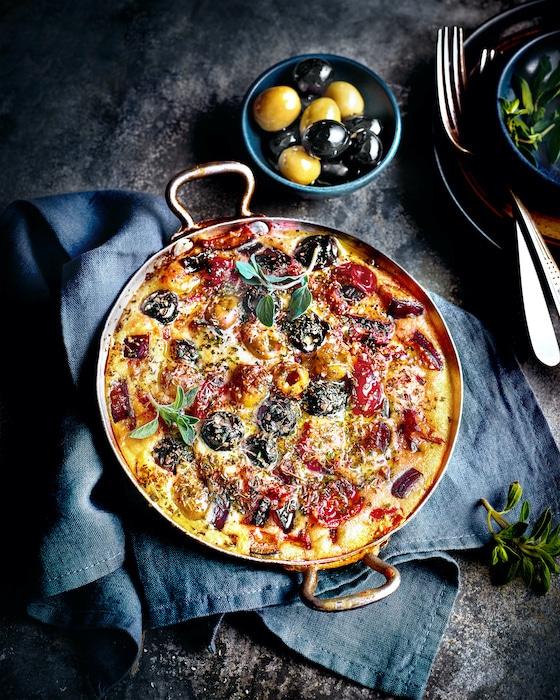 recette de Clafoutis aux olives vertes et noires