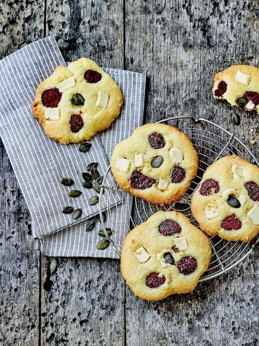 recette de Cookies framboise et chocolat blanc