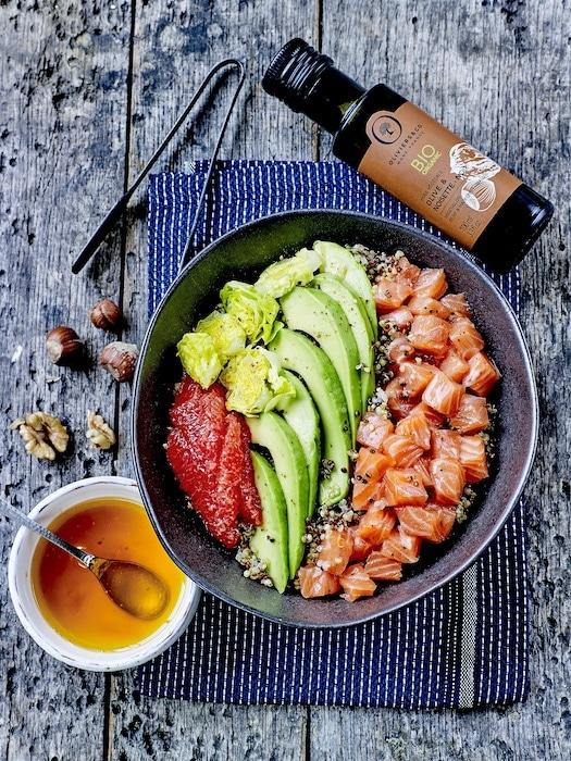 recette de Poke saumon avocat pamplemousse