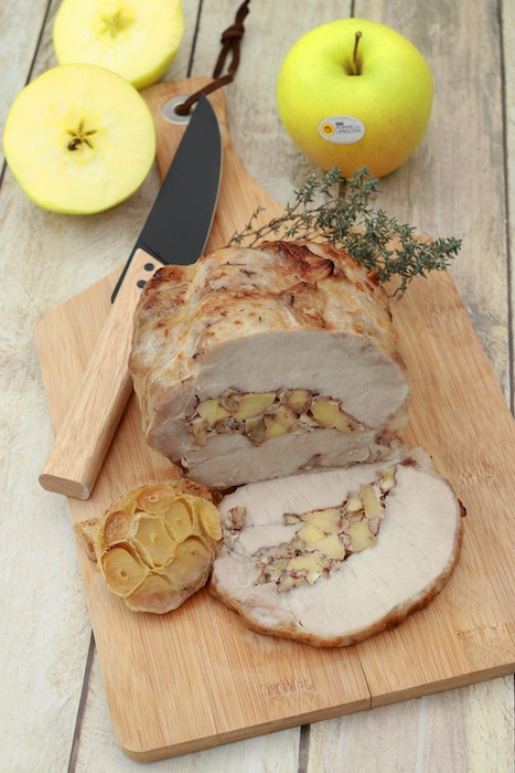 recette de Rôti de porc farci aux pommes