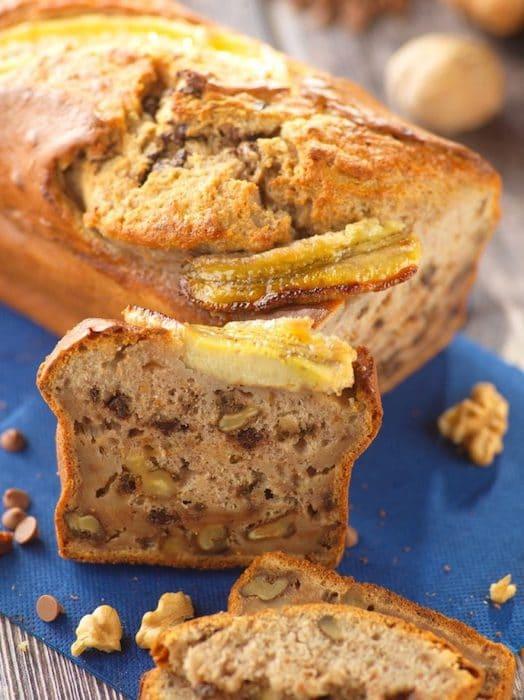 recette de Banana bread aux noix et chocolat