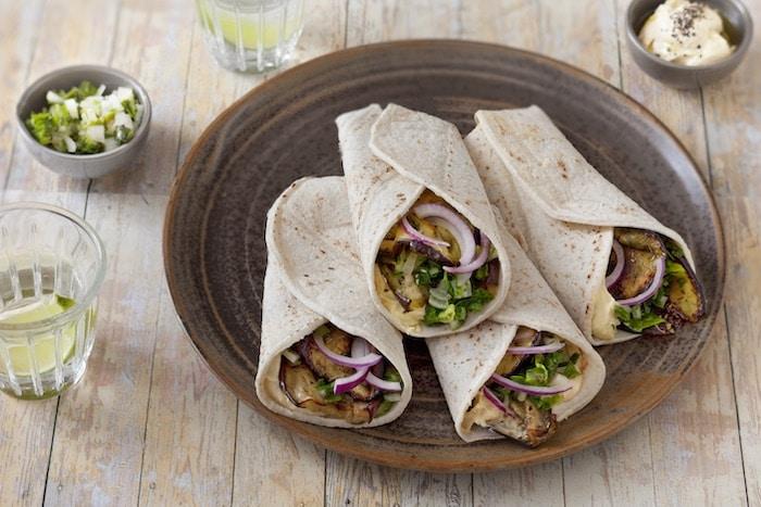 recette de Burritos aux aubergines grillées