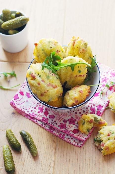 recette de Madeleines aux lardons et aux cornichons