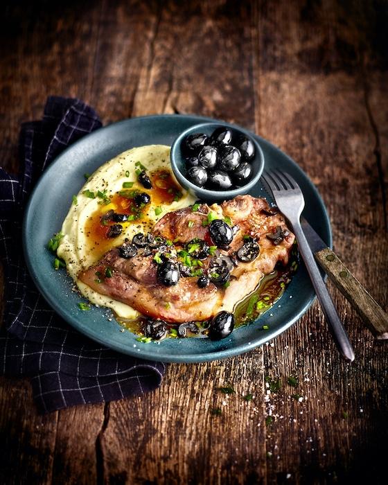 recette de Côtes de porc au jus d'olive