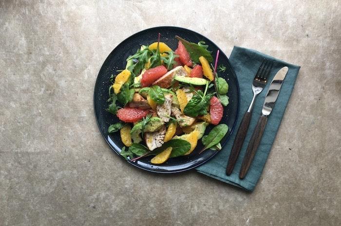 recette de Salade au poulet et aux agrumes