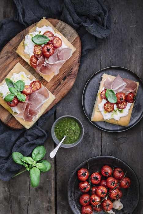recette de Focaccia aux tomates cerises et jambon