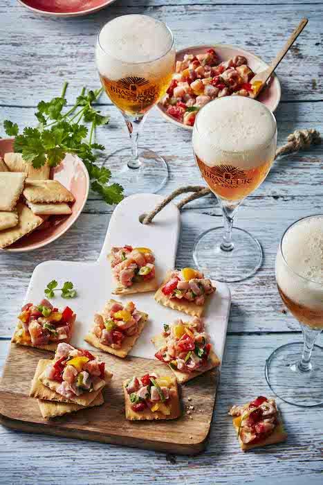 recette de Ceviche de saumon et thon sur crackers