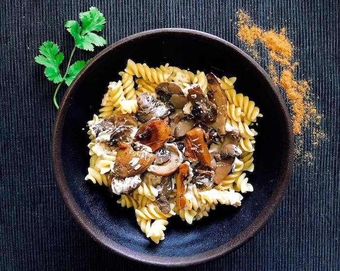 recette de Fusilli à la crème de champignons