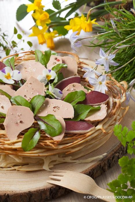 recette de nid au foie gras et magret