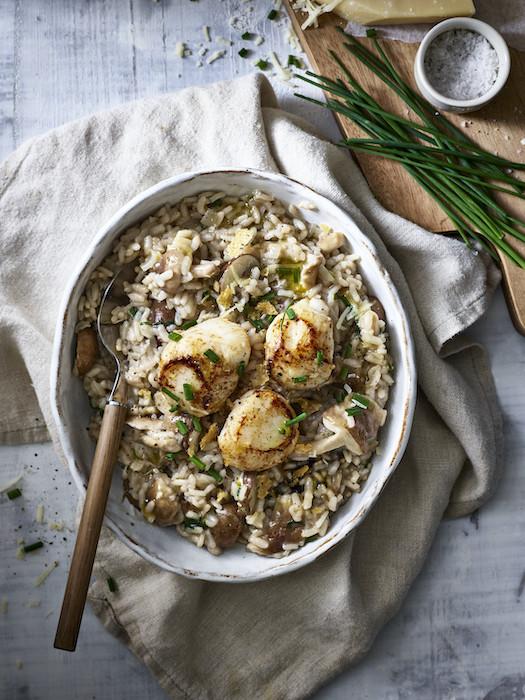 recette de Risotto aux champignons et Saint-Jacques