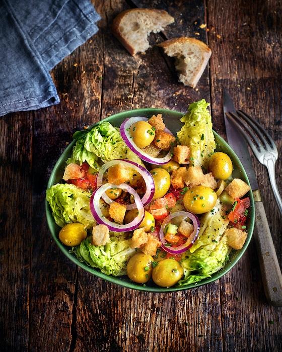recette de Salade de sucrines à la salsa d'olives