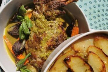 Epaule d'agneau moutarde-basilic