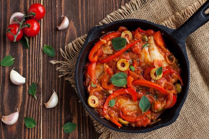 recette de Cabillaud à la sauce tomate aux olives