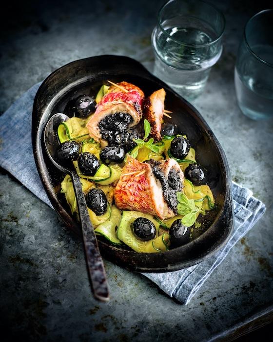 recette de Filets de rougets à la tapenade d'olives
