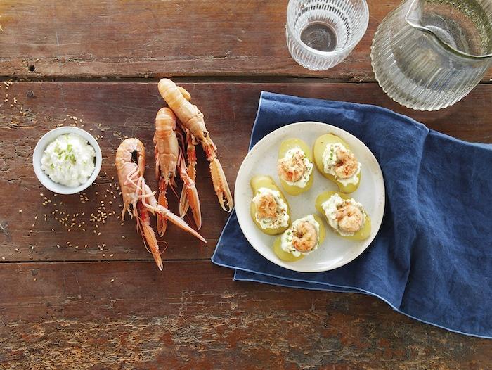 recette de Fingers de pommes de terre aux langoustines