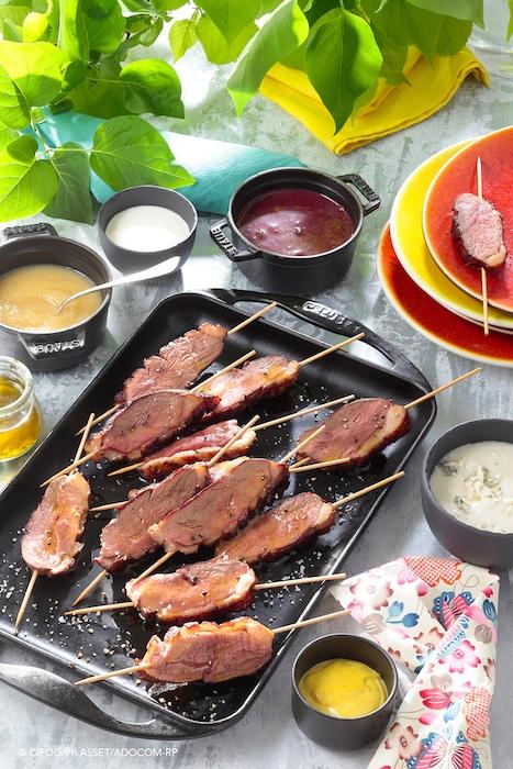 recette de Brochettes de magret aux 6 sauces