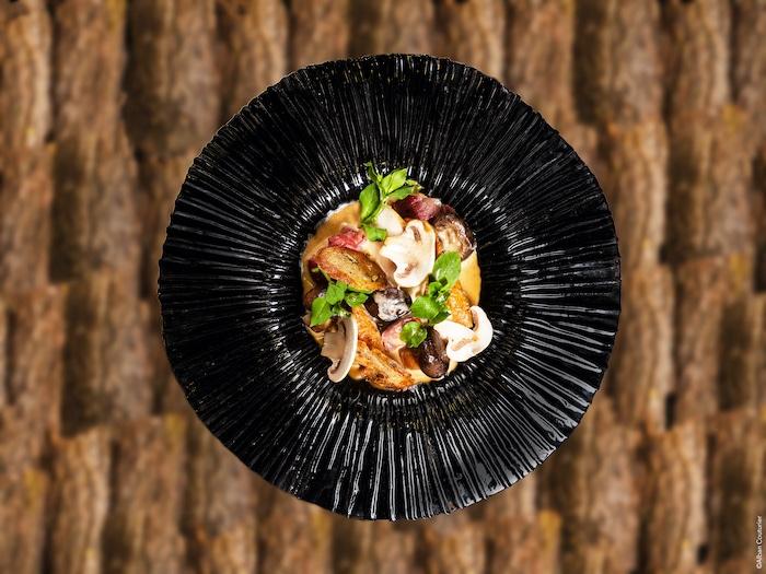 recette de Volaille fermière aux champignons et abattis