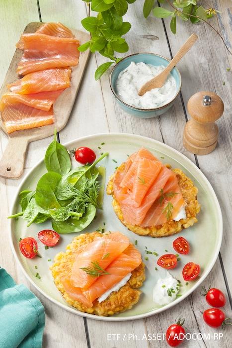 recette de Röstis de maïs au saumon fumé