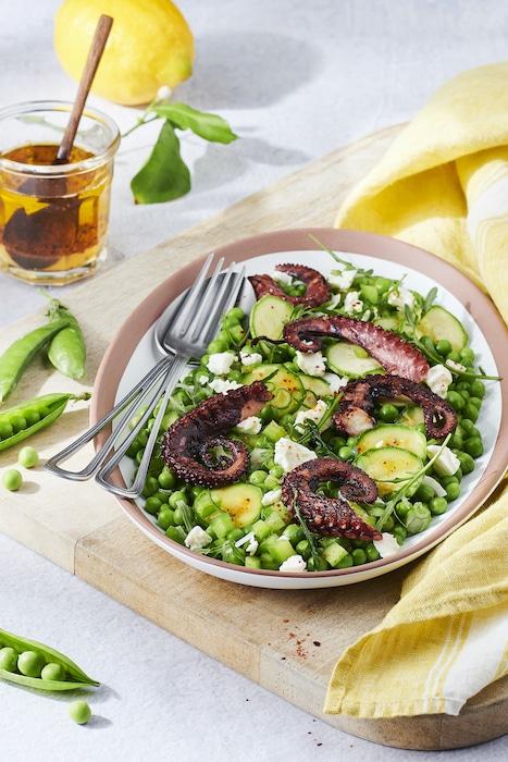recette de Salade de poulpe mariné et grillé
