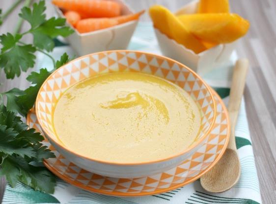 recette de Soupe froide de mangue et de carottes