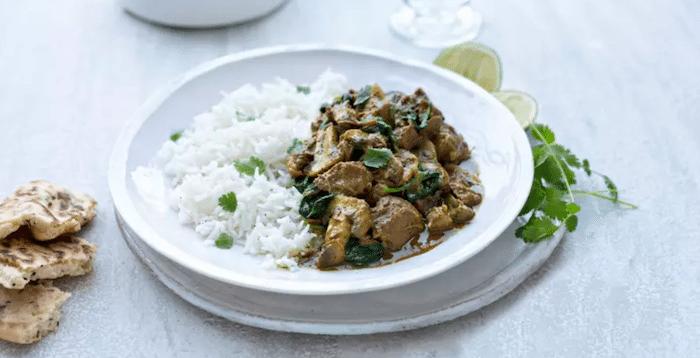 recette Agneau korma aux champignons et épinards