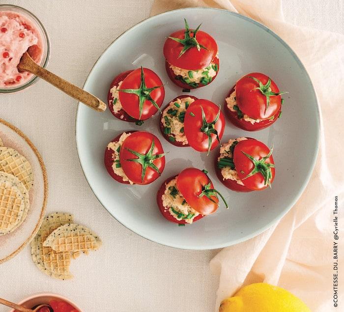 Mini tomates farcies aux rillettes de rouget