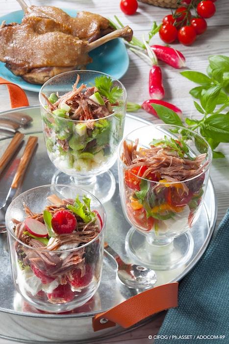 recette de Verrines fraîcheur au Confit de canard
