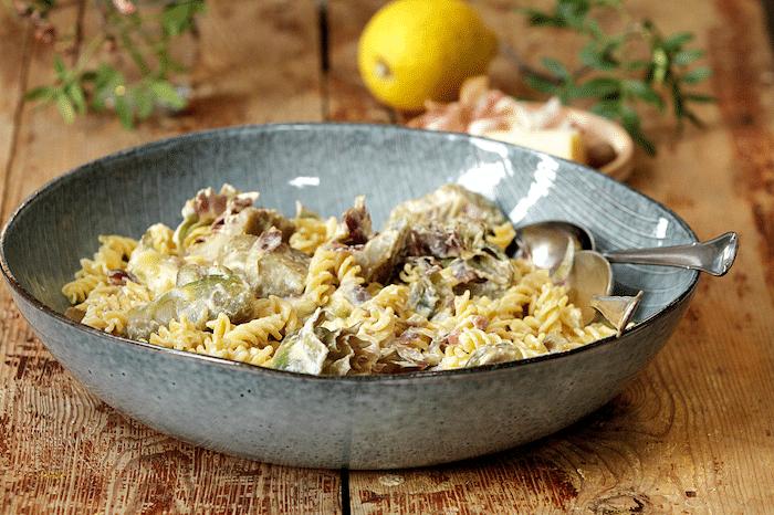recette de Torsades aux artichauts et au fromage frais