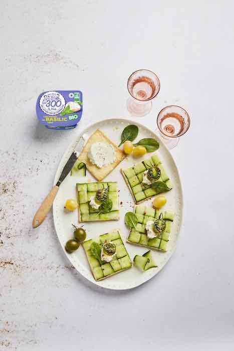 recette de Tartelettes au concombre et fromage frais