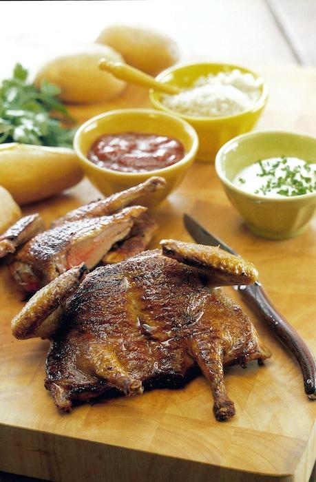 recette de Pigeonnaux en crapaudine au barbecue