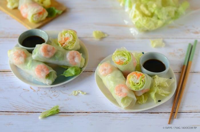 recette de Rouleaux de printemps à la laitue et aux crevettes