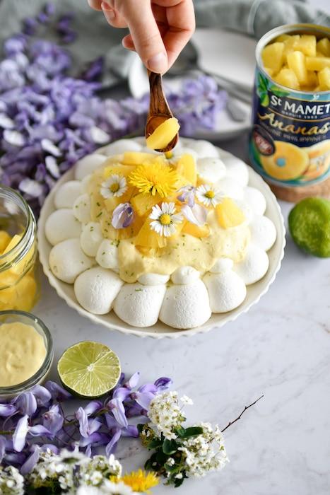 recette de Pavlova ananas et citron vert