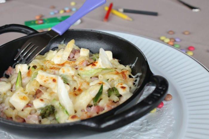 recette de Coquillettes et asperges en gratin