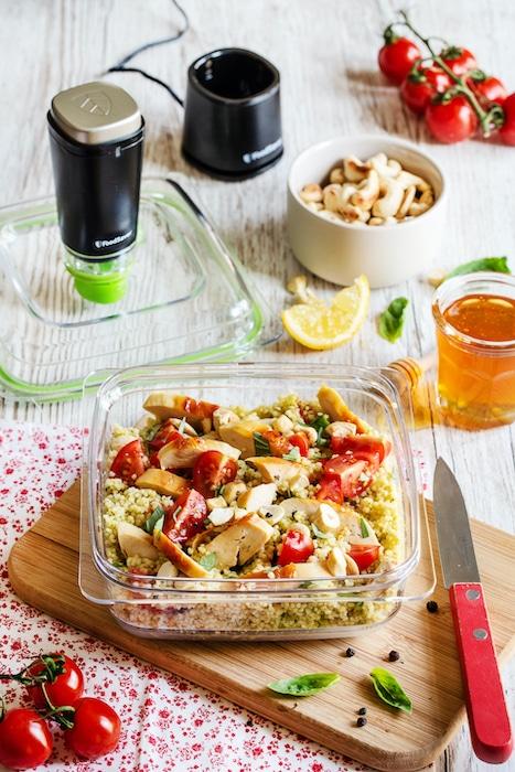 recette de Salade de semoule au poulet et pesto