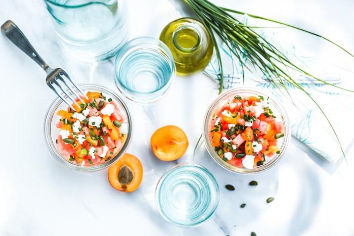 recette de Tartare d'abricots au chèvre et pastèque