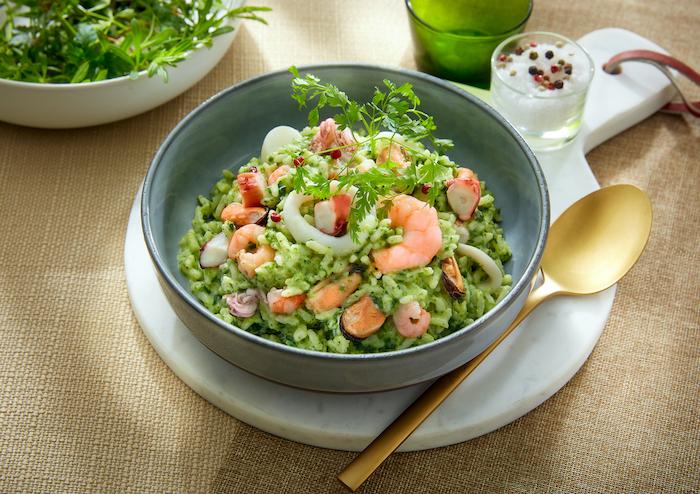 recette de Risotto aux herbes et aux fruits de mer
