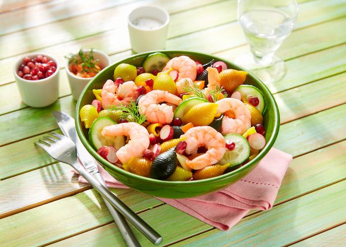 recette de Salade fraîcheur de pâtes aux crevettes