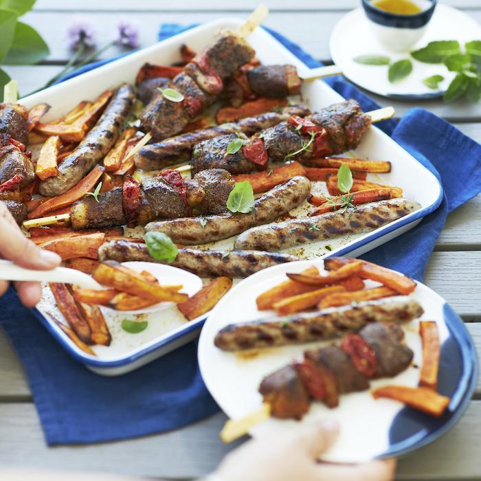 recette de Brochettes et saucisses de canard au bbq