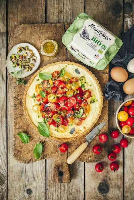 recette de Tarte aux tomates colorées et ricotta