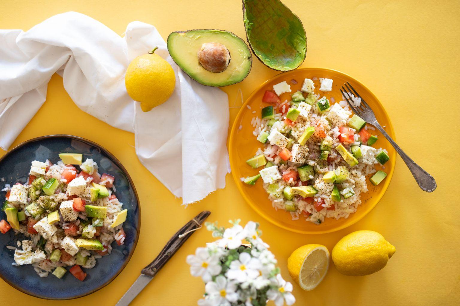 recette de Salade de riz à l'avocat et à la feta