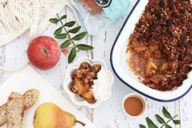 Crumble de pain aux pommes et aux poires