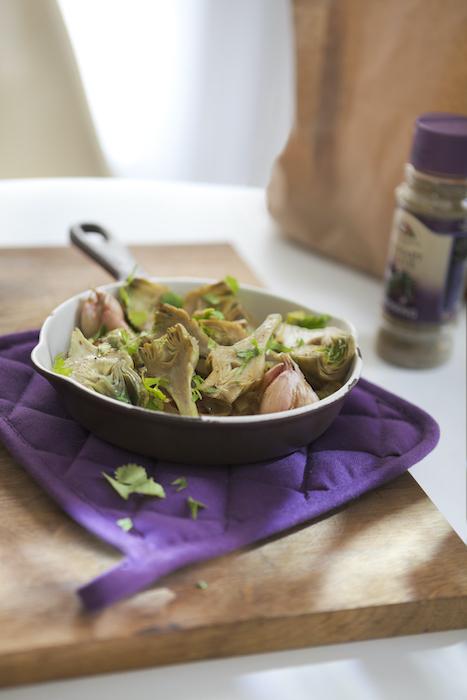 recette d'artichauts violets à la coriandre