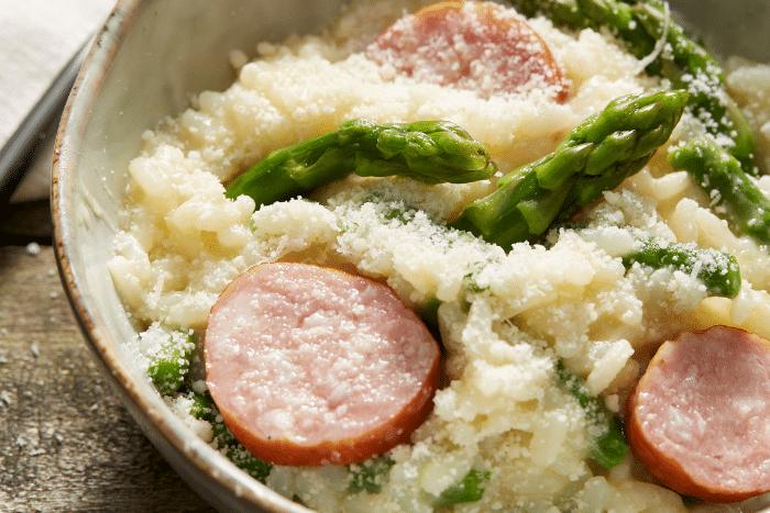 Risotto aux asperges et saucisse de Montbéliard