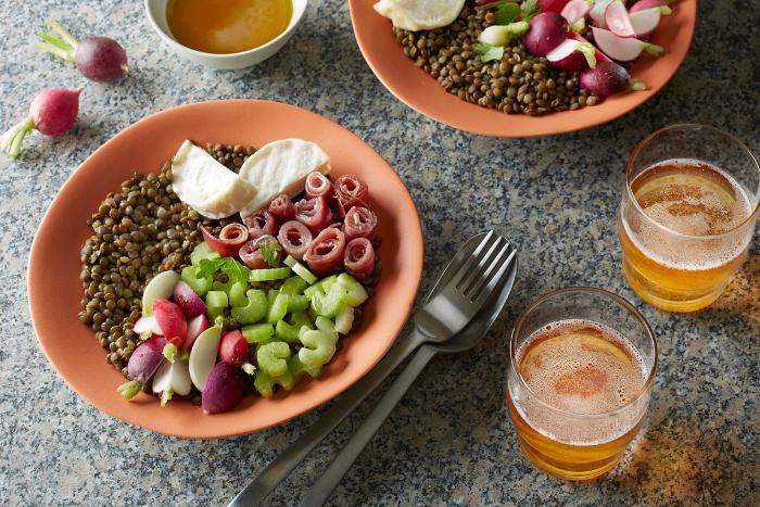 Salade de lentilles et vinaigrette au cidre