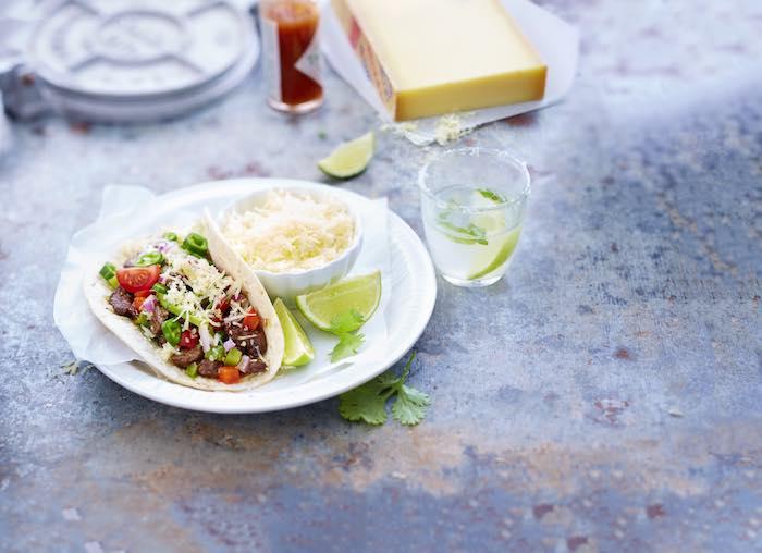recette de Tacos au boeuf mariné et Gruyère